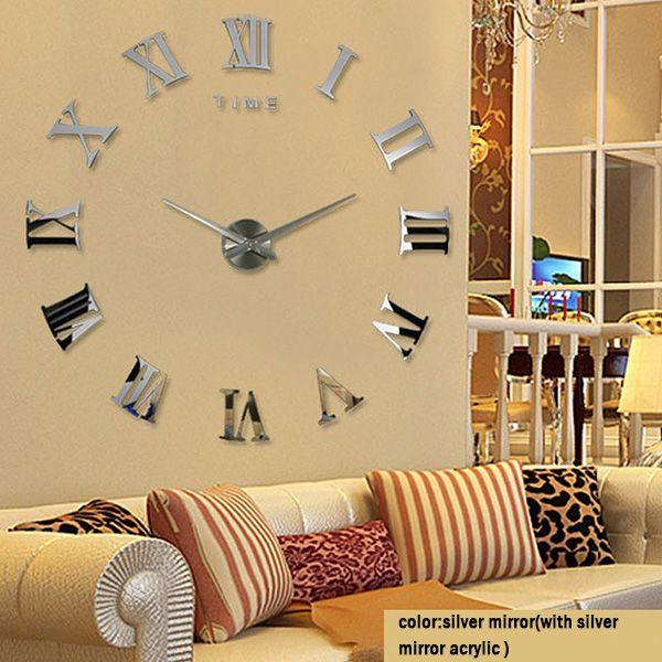 Acrylic Sticker Wall Clock Modern Diy Analog 3d Mirror Surface ...