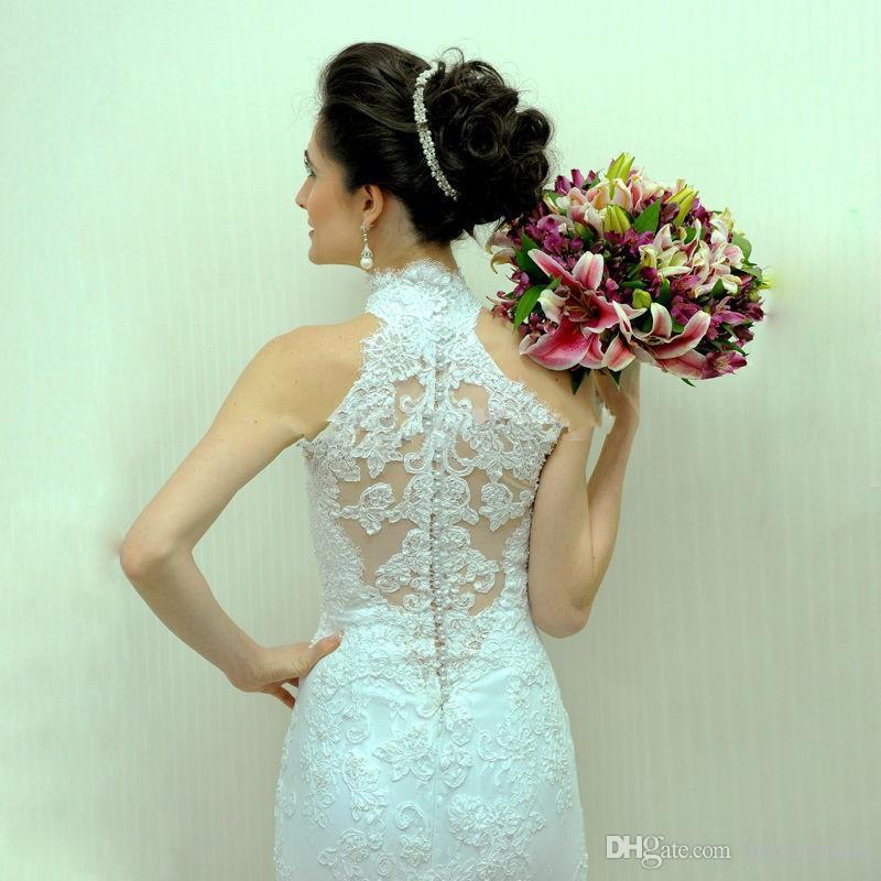 Abiti da sposa romantica con collo alto senza maniche a bottone indietro appliques pizzo personalizza abiti da sposa vintage giardino vestido de noiva