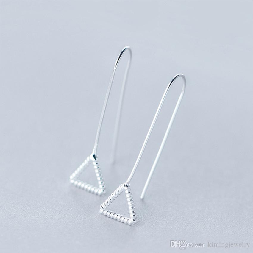 Hot !925 Sterling Silver Triangle Geometric Pendant Dangle Hook Wire Threader Earrings for Women Girls Charm boucle d'oreille