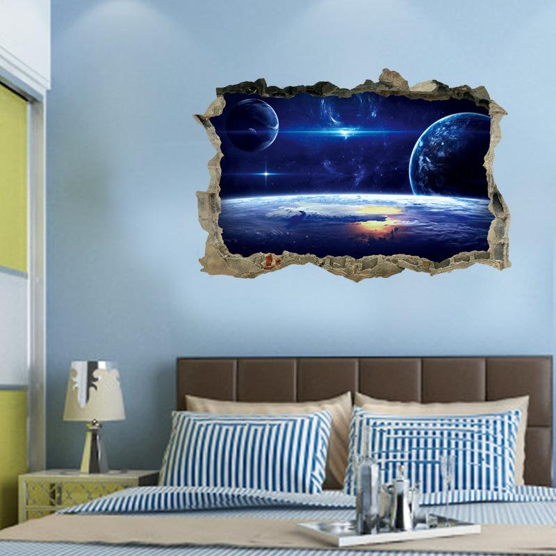 planets galaxy 3d wall sticker pvc broken wall nature and space wall