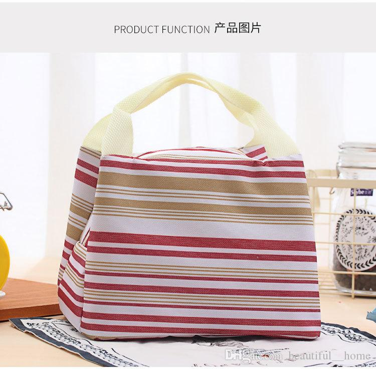 2017 hot Canvas Stripe Picnic Lunch Drink Thermal Insulated Cooler Tote Bag 450ML Portable Carry Case Lunch Box