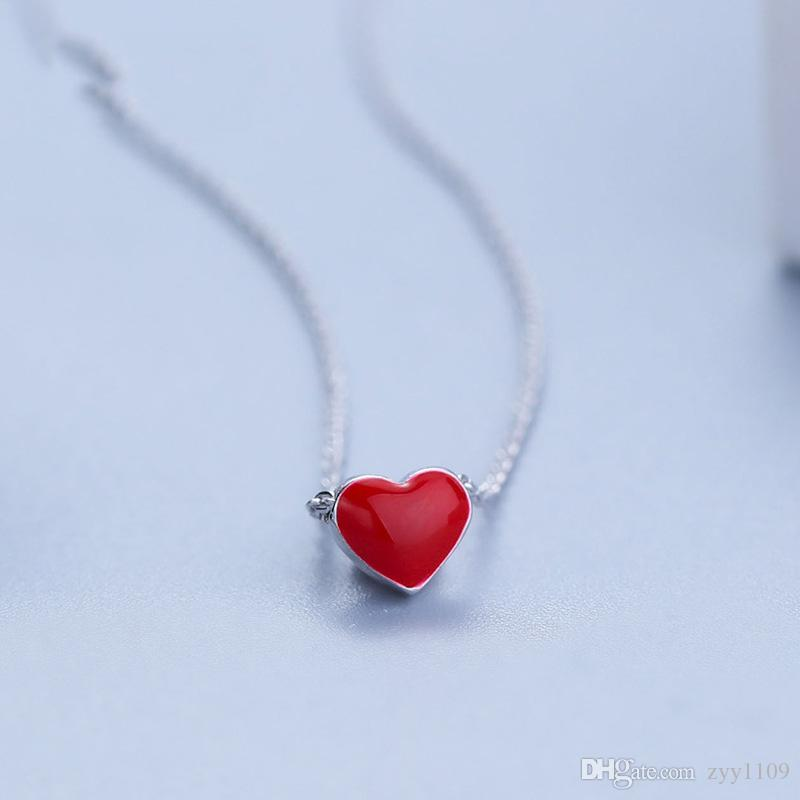 Wholesale hot style 925 sterling silver pendant necklace manual wholesale hot style 925 sterling silver pendant necklace manual drop glaze red heart collarbone chain necklace small fresh heart pendant wholesale chain aloadofball Image collections
