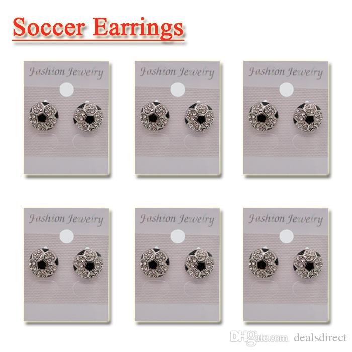 Sports Post Earring Studs Girls Soccer Rhinestone Crystal Bling