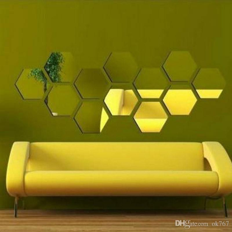 Hot - selling hexagonal mirror environmental protection acrylic wall stickers background wall decorated crystal three - dimensional mirror