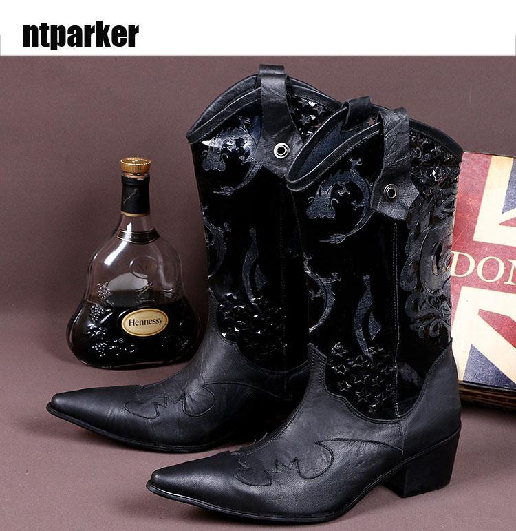 4420ce7c5c0 Italian style cowhide Men s leather boots Fashion Black mens business dress  fashion men personalized Western Cowboy boots. Big size 46