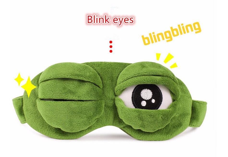 패션 카와이 여행 잠자는 아이 마스크 3D 슬픈 개구리 패딩 그늘 커버 잠자는 폐쇄 / 오픈 눈 재미있는 마스크