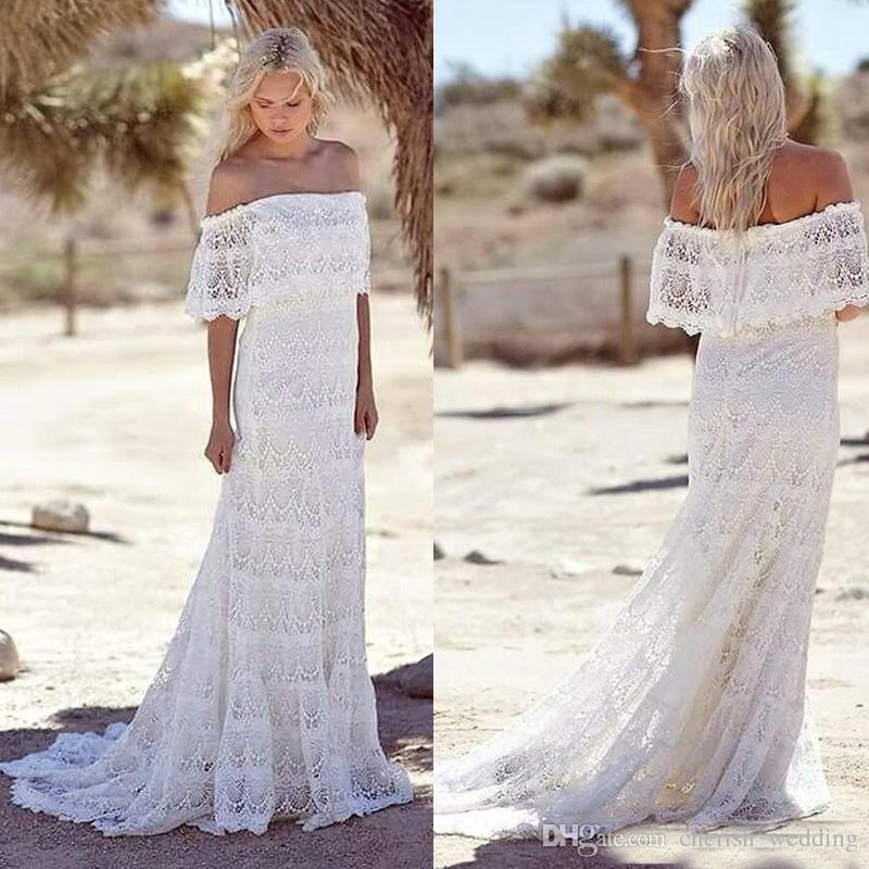 Vintage Lace Beach Wedding Dresses Cheap Mermaid Off The Shoulder ...