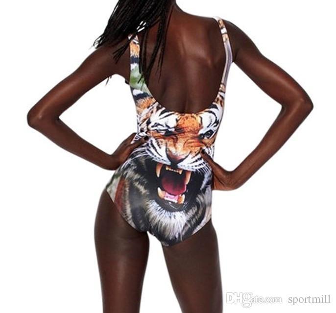Tiger bikini one piece Animal printing swimwear Sexy swim wear Black milk sport bathing suit Woman swimsuit