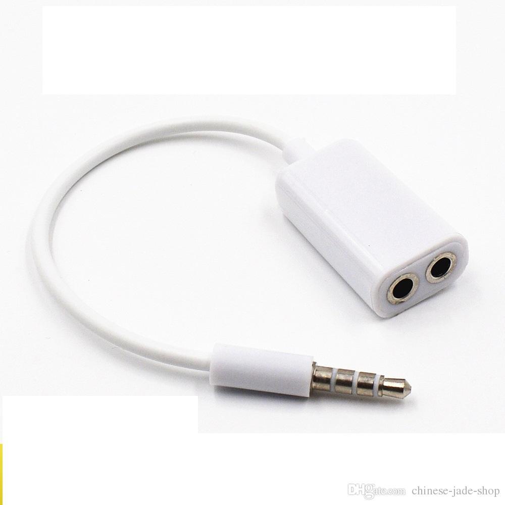 17cm Schwarz Weiß 3.5mm Kopfhörer 1 Stecker auf 2 Buchse Y Splitter Extend AUX Audio Kabel Adapter 100St
