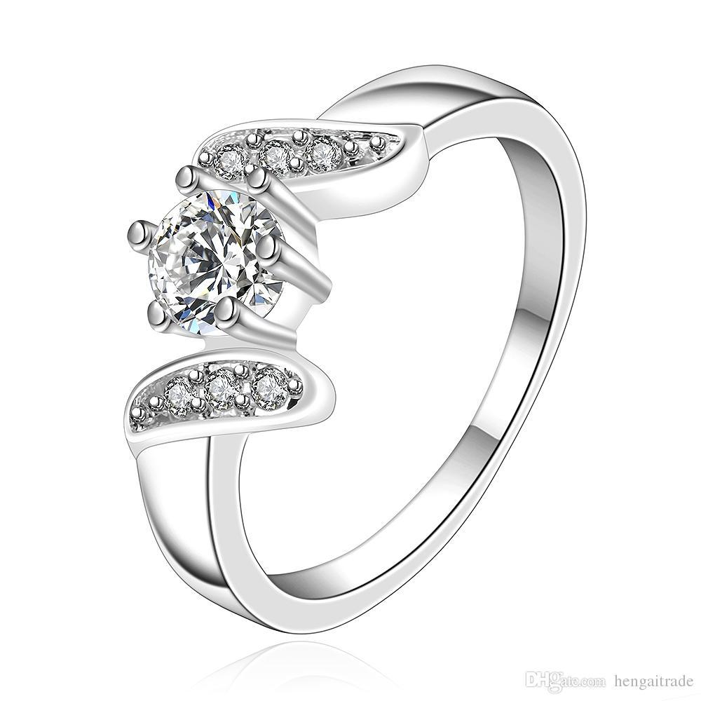 Бесплатная доставка Оптовая стерлингового серебра 925 посеребренные мода средний камень кольцо ювелирные изделия LKNSPCR155-8