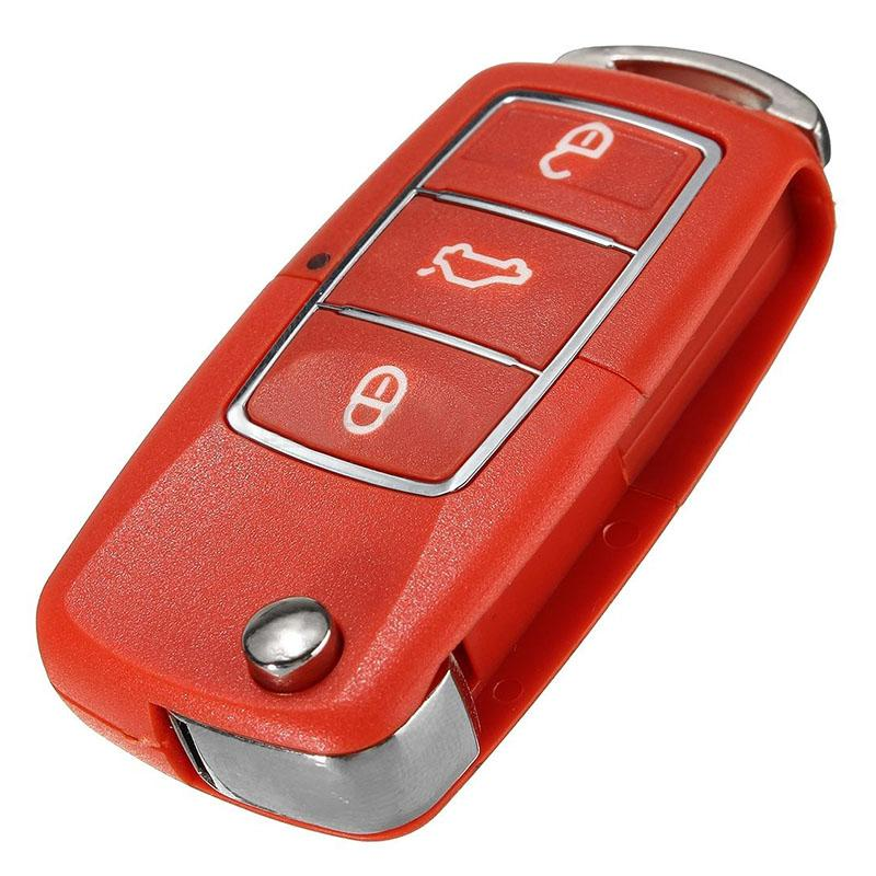 3a761b960d Red 3 Button Remote Key Fob Case Shell For Volkswagen VW Bora Beetle Golf  Polo Passat ...