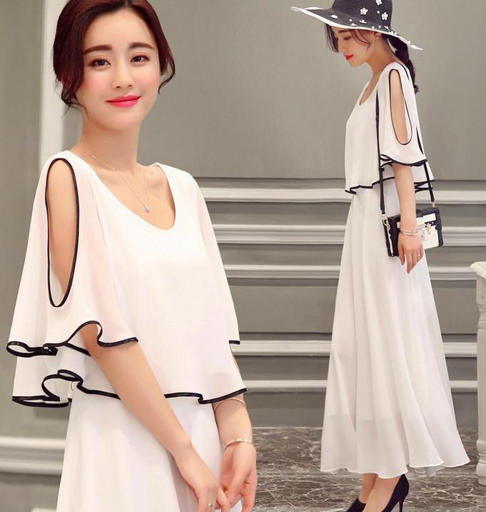 La nouvelle version coréenne de la robe longue en mousseline à manches longues en mousseline de soie à manches longues en été