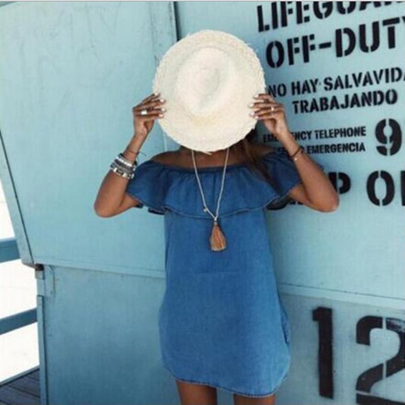 Vendimia de las mujeres con volantes vestido elegante de los pantalones vaqueros de la informal hombro vestidos de mezclilla azul Summer Beach Party corto para mujeres