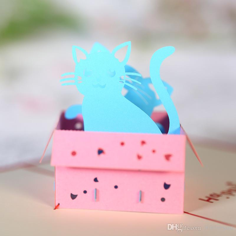 cat greeting cards birthday party favors birthday party decorations two cats for kids gift art paper 3D pop up cards greeting card
