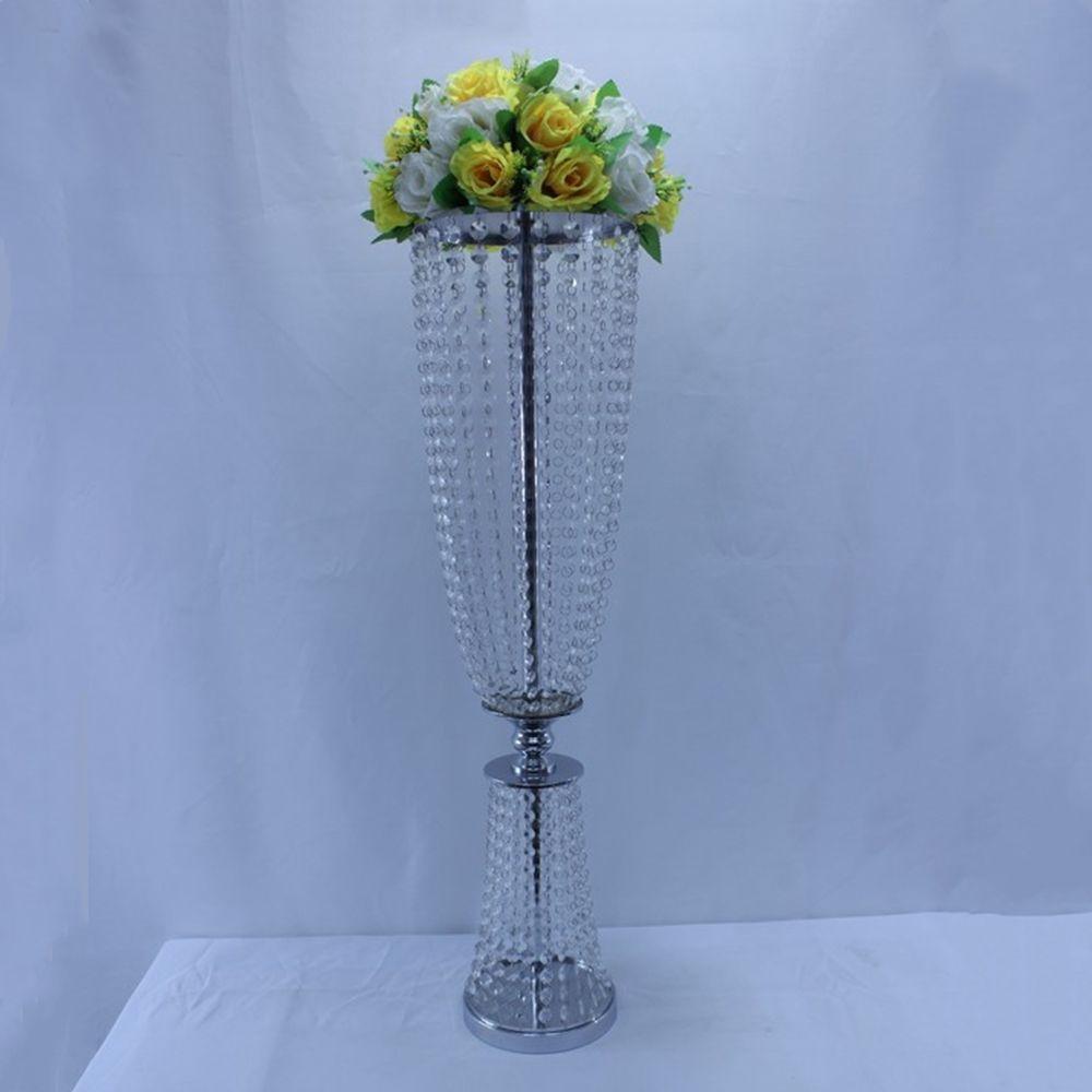 flor do casamento adereços de chumbo estágio partido estande vaso de metal decoração de cristal estrada casamento / casamento tabela peças centrais decoração partido do evento