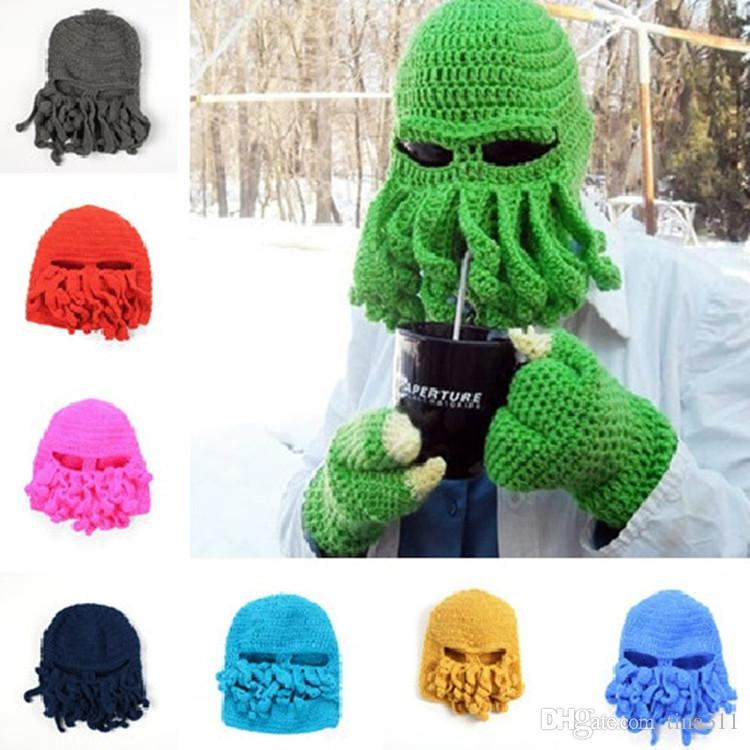 1e43cb2fc53 High Quality Novelty Handmade Knitting Wool Funny Hats Caps Crochet Beanies  Halloween Unisex Nice Gift CC510 Fitted Caps Knit Hats From Tina311