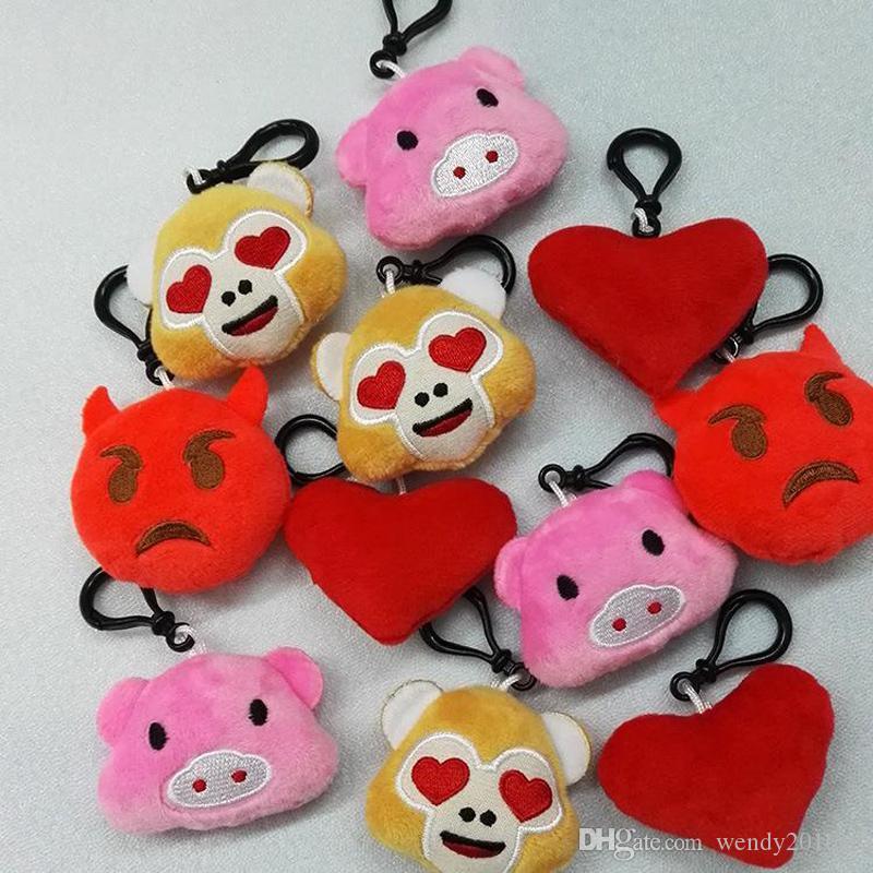 10 pçs / lote 2017 5.5 cm 2.16 polegada macaco amor porco pooh cão panda Emoji Chaveiro de pelúcia emoji Recheado de Pelúcia Boneca de Brinquedo chaveiro para Celular pingente