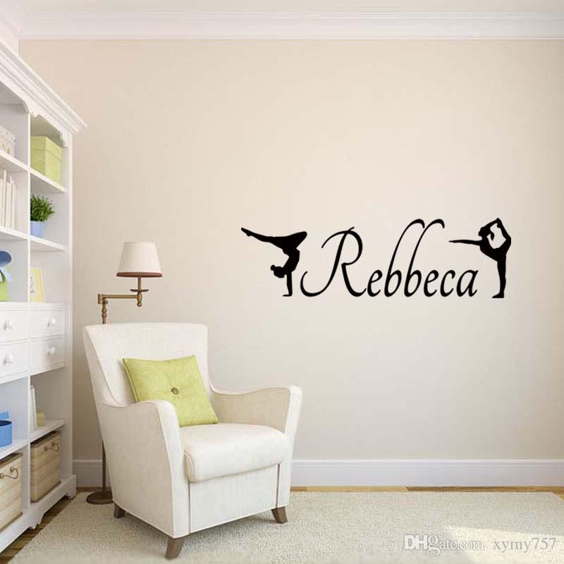 Personalised Gymnastics Vinyl Funny Decal Wall Removable Art Girls Bedroom Sitting Room Sticker Accessories Decorate Diy