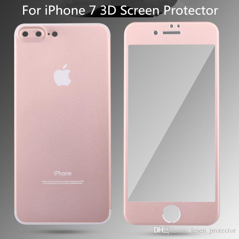 Front 3d Full Cover 02mm Screen Protector Tempered Glass Film Alloy Titanium Back Camera Protection For Apple Iphone 7 Plus Cell Phone