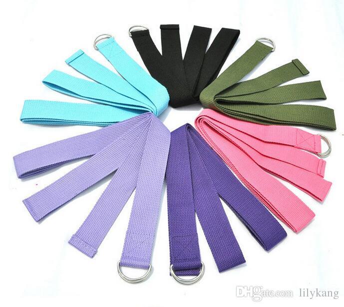 Multi-cores mulheres yoga alça de estiramento d-anel cinto de exercício de fitness gym corda figura cintura resistência das pernas bandas de fitness algodão