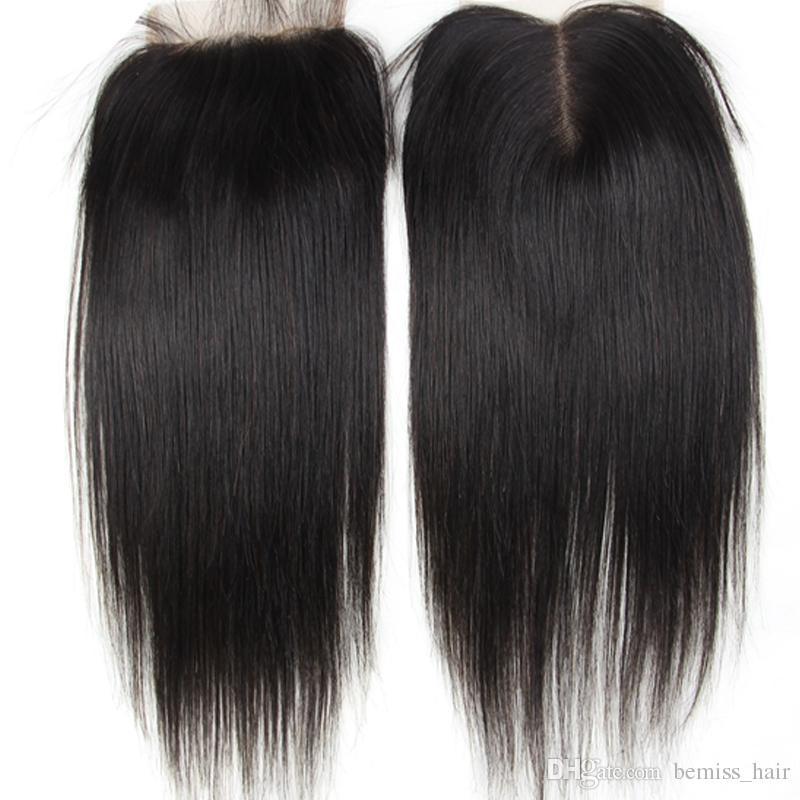 Liso recto de pelo humano de Malasia con cierre 3 paquetes Striaght Cabello peruano camboyano mongol brasileño virginal del pelo humano teje