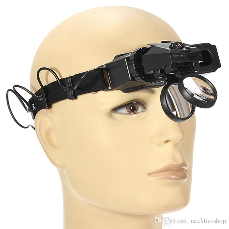 5/8/20X Magnifying Glass Headset LED Light Headband Magnifier 8 Lens For Reading Watch Repair Loupe Tool