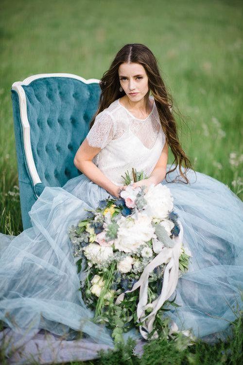2017 New Fairy Beach Boho Lace High-Neck A Line Abiti da sposa Morbido Tulle Cap maniche Backless Light Blue gonne Plus Size Abito da sposa