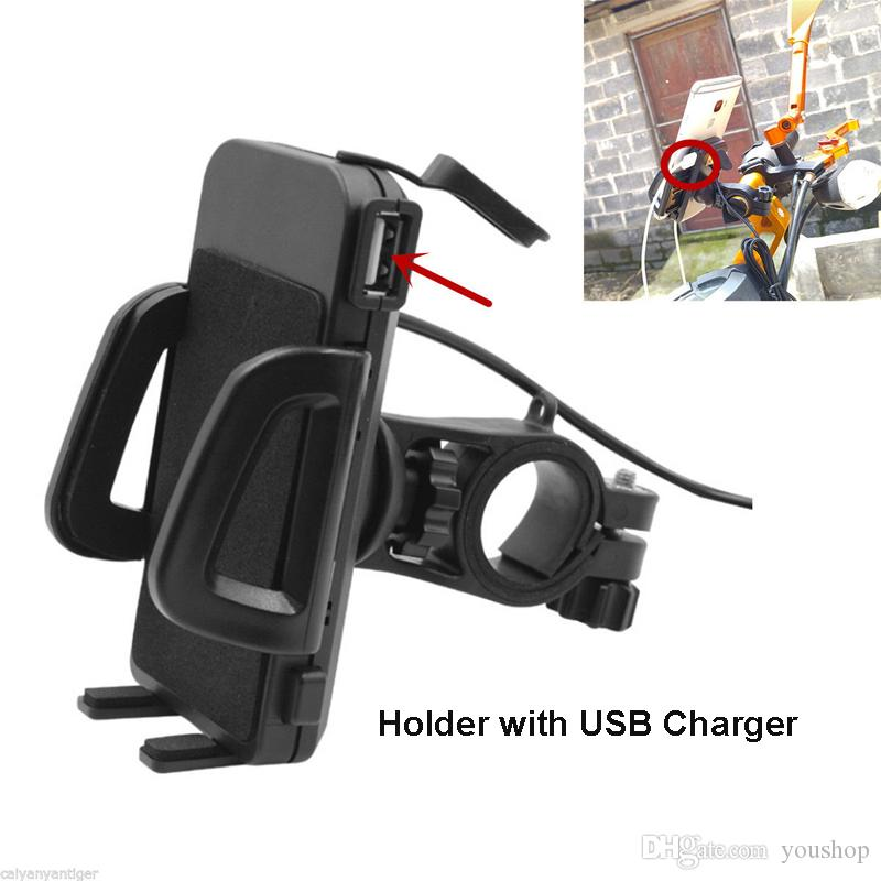 Motorbike Motorcycle Phone Holder Clamp Stand Handlebar Mount Mobile Phone Cradle with USB Charger for 3.5-6 inch Cell Phone GPS