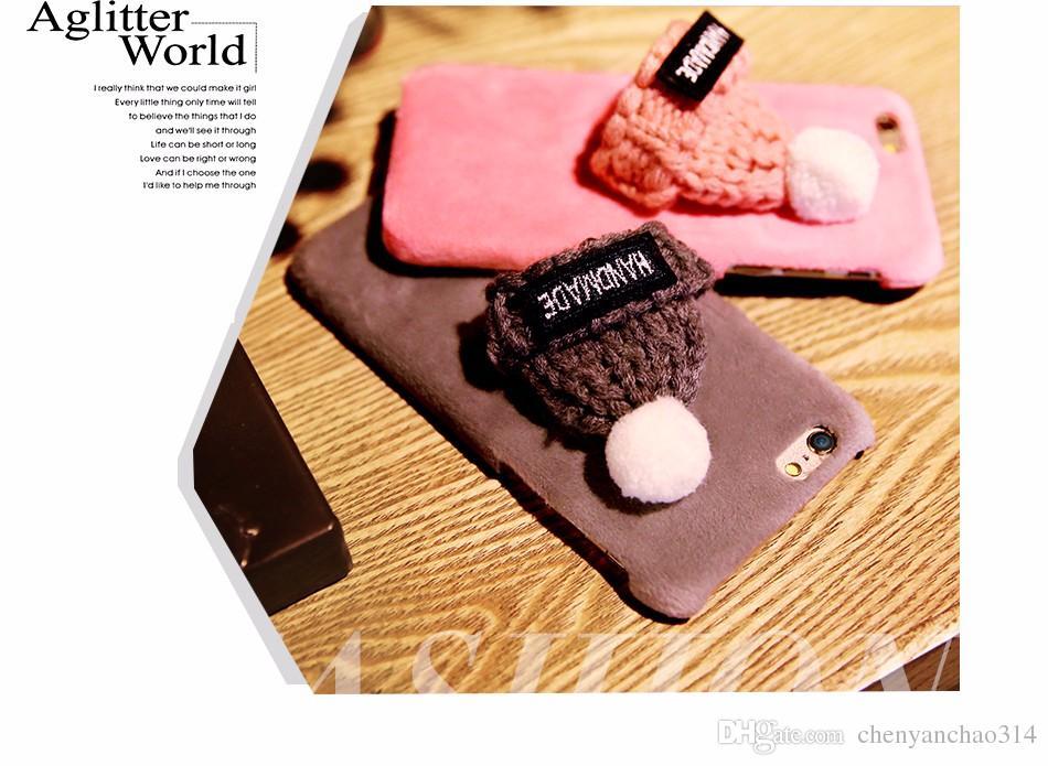 Mode Main En Peluche Chapeau Couverture Pour iPhone 7 Plus 6 6s Plus Mignon Cadeau Tricoté Téléphone Retour Cas Pour iPhone 6 6s 7 Cas De Noël