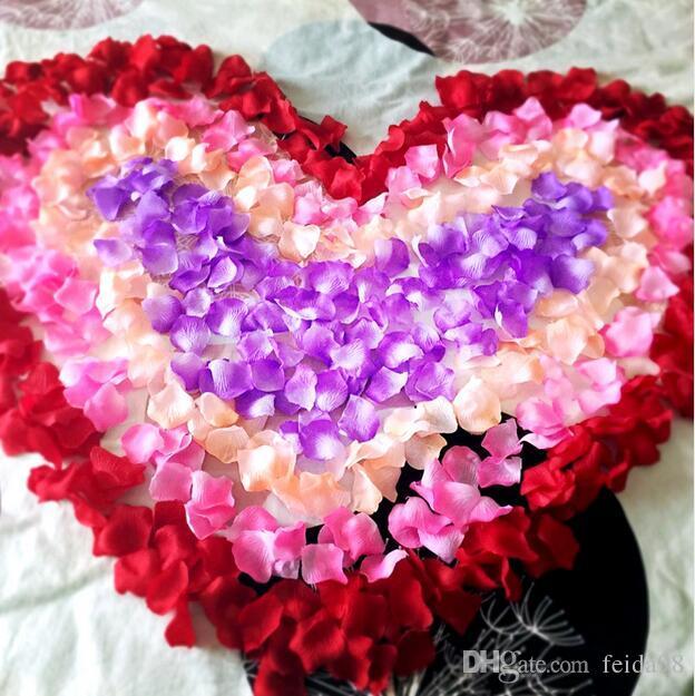 Silk Rose Petals Leaves Artificial Flowers Petals Wedding Decoration Party Decor Festival Table Decorative 50bagG1213