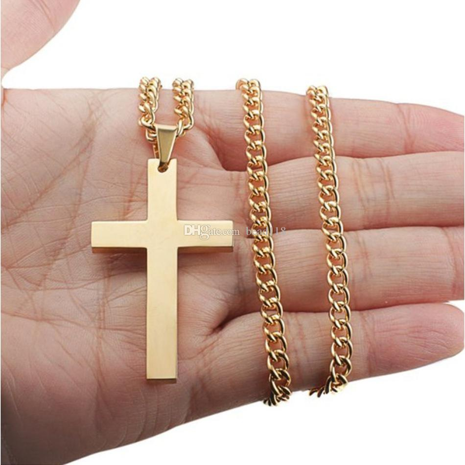 MIC Fashion alloy Glossy Cross charm Pendant Chain Necklace for Men Women, 22-24 Inches