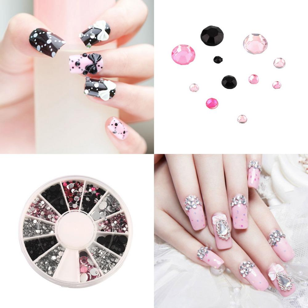 3d Nail Jewelry Acrylic Nail Art Decoration 4 Sizes Black White Pink