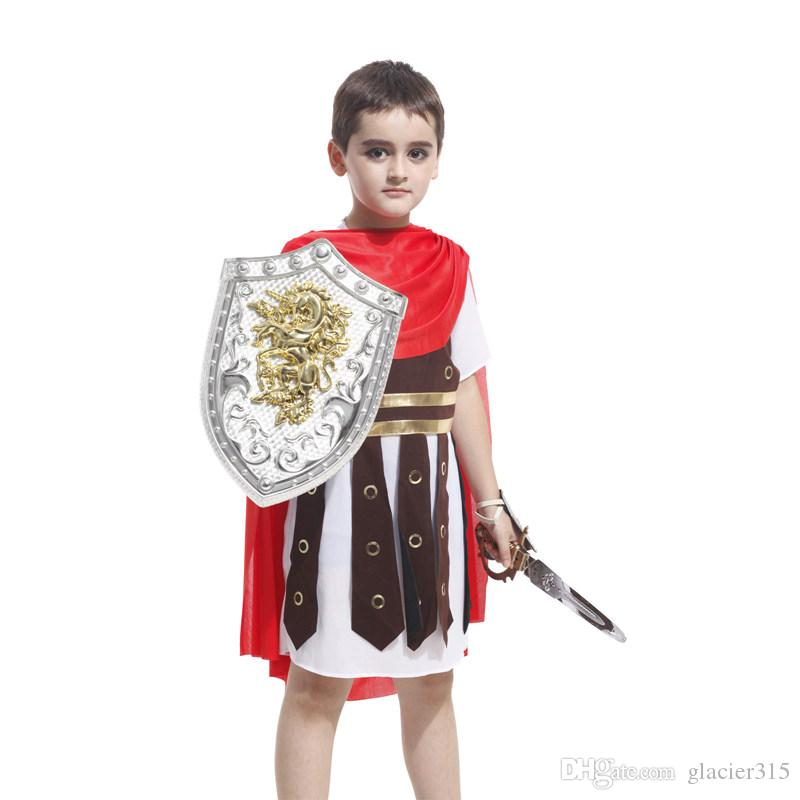 Ancient rome costumes for children cosplay costume roman warrior kids roman soldier costumes for boys halloween cosplay clothing