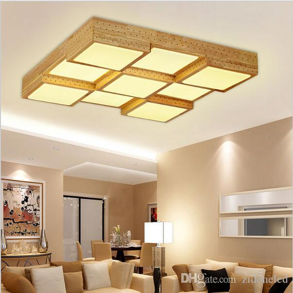 2018 Modern Wood Led Ceiling Lights Square Box 9 Heads Light Flush Mount Oak Indoor Fixture From Zidoneled 123 82 Dhgate