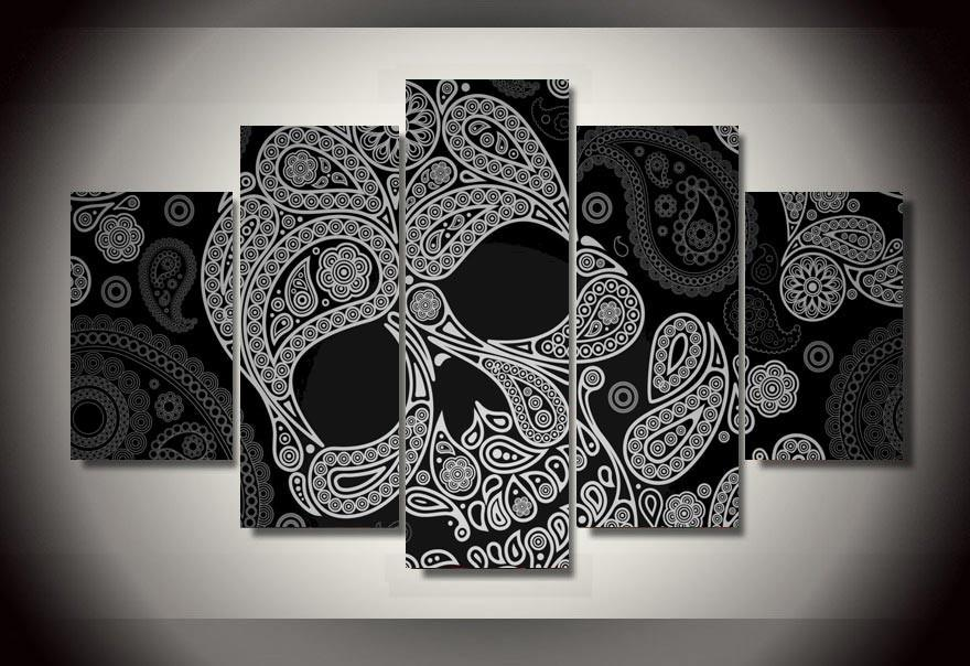 2018 Wholesale Abstract Of Black And White Skull Canvas ...   Cheap Black Art