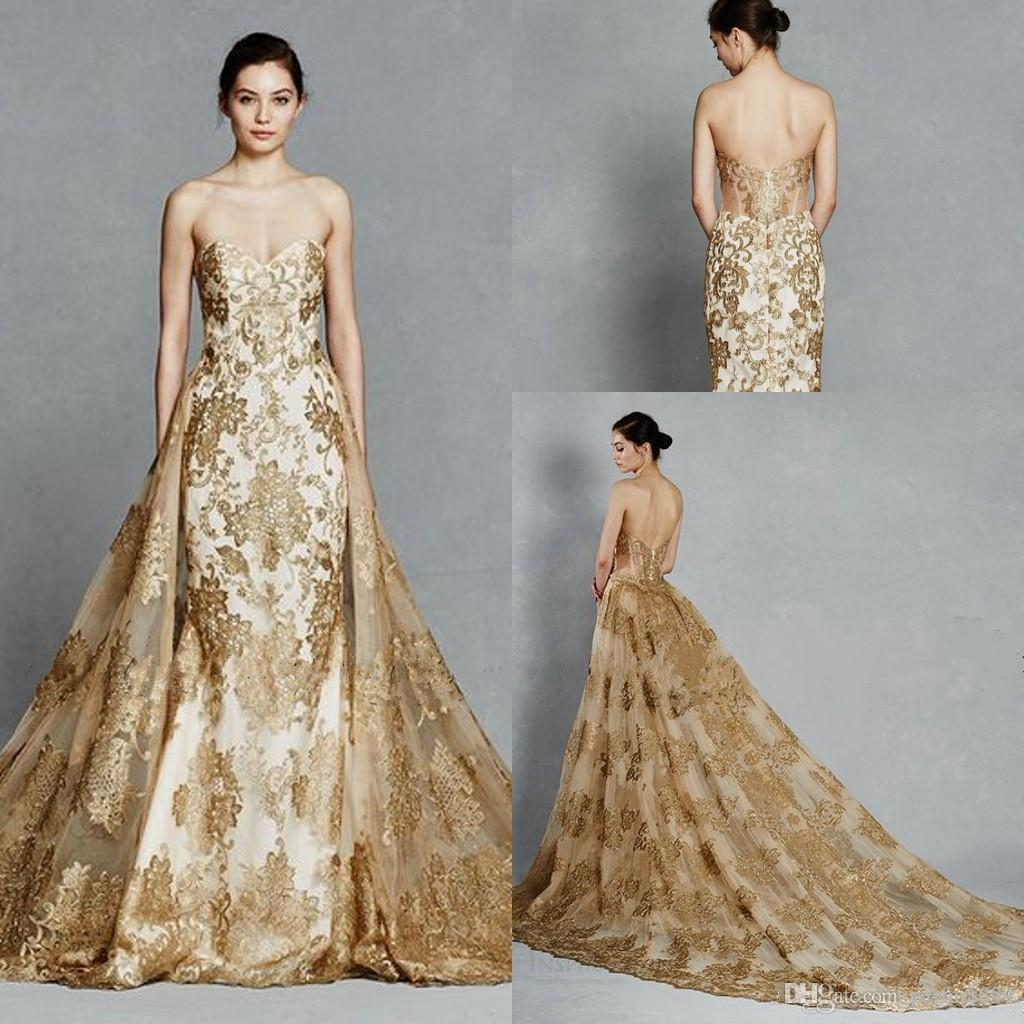 Gold Gowns Wedding: Gold Color Embroidery Train Detachable Royal Wedding