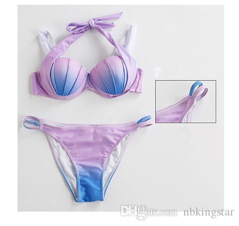 2017 Summer Sexy Gradient Color Swim Wear Bikini Seashell Shape Beachwear Mermaid Swimwear Polyester Low Waist Women Bathing Swimsuit