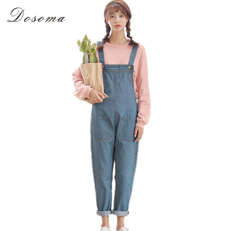 42c81393be67 2019 Wholesale Loose Girls Denim Jumpsuit 2017 Korean Preppy Style Casual  Simple Anklelength Denim Jumpsuit Women Big Pocket Jeans Jumpsuit From  Humphray