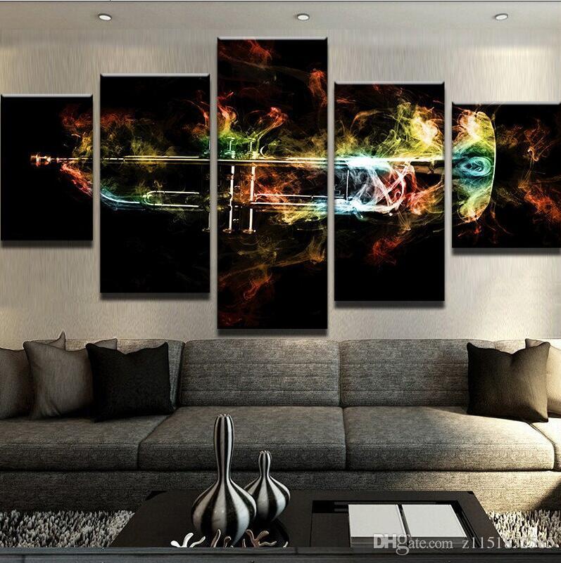 Moderna tela pittura modulare poster 5 pezzi di arte della parete tromba fiamme decorazioni la casa soggiorno stampato immagini opere d'arte