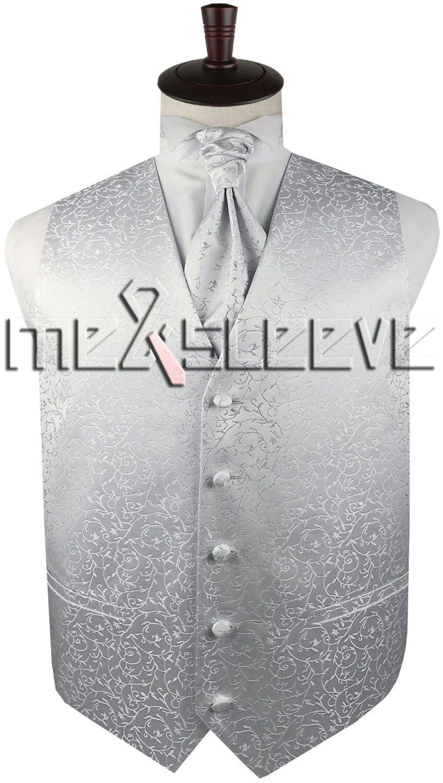 men designer silver floral Waistcoatvest+ascot tie+cufflinks+handkerchief