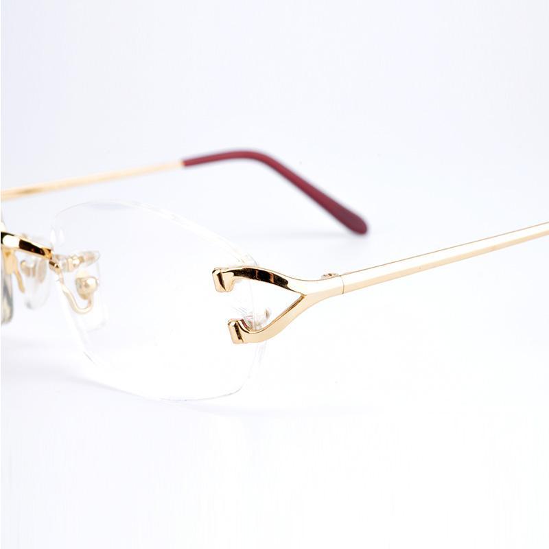 fad75bceb4 Luxury Brand Men Women Optical Frames Rimless Glasses Frames Real Gold  Plated Metal Optical Eyeglasses With Original Box Optical Eyeglasses Frames  Picking ...