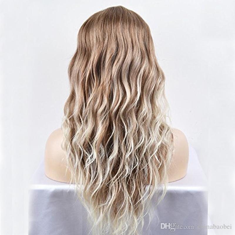 24 inch Women Girls Lovely Synthetic Mix Color Long Curly Wigs Pin Curls with Neat Bangs Hairnet Included