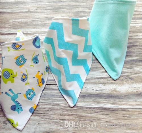 3pc/set Baby cotton Bibs burp Cloths Newborn double layer girls boys Waterproof Triangle Saliva Towel animal owl watermelon style bib YE010