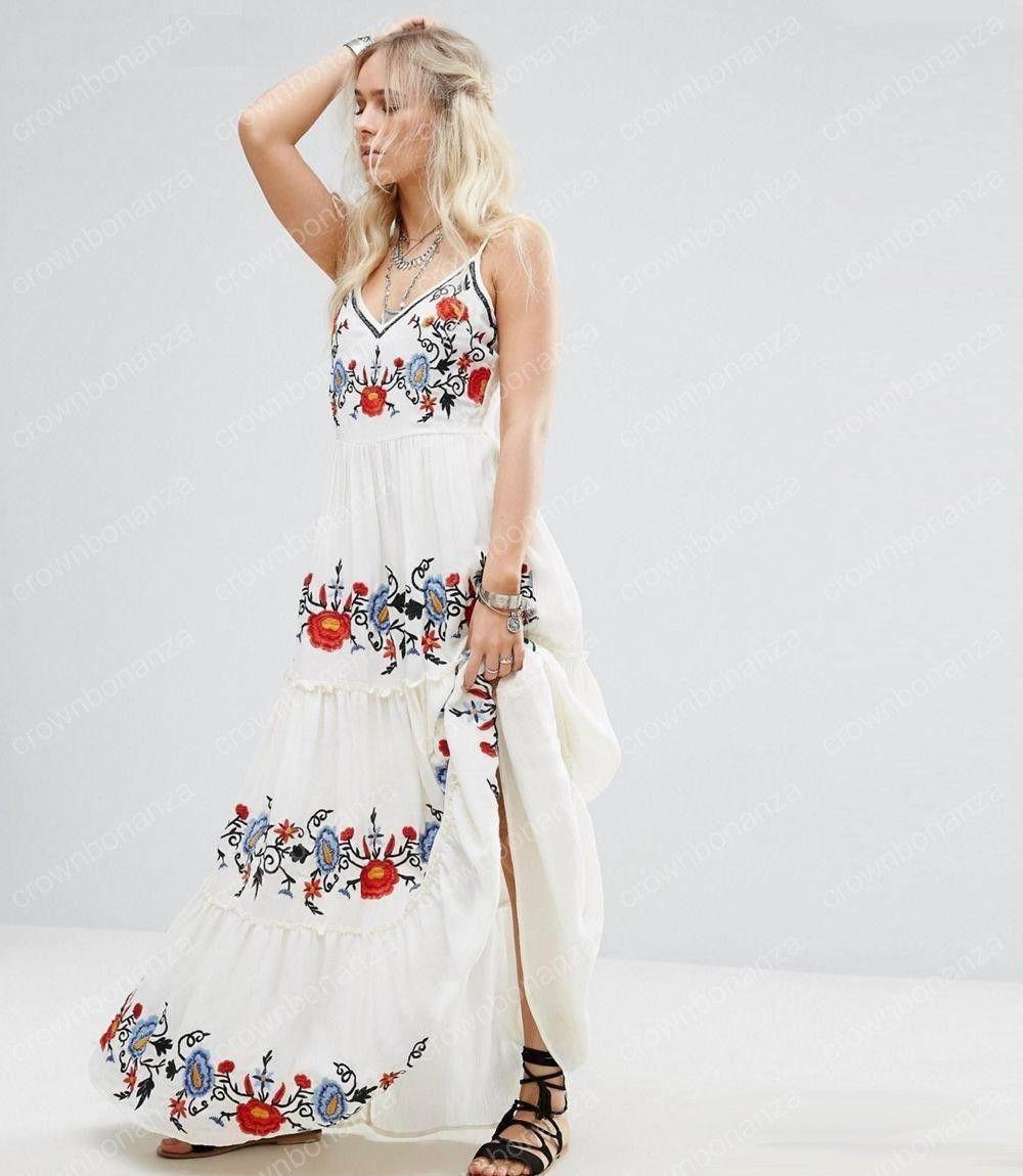 Summer Ladies Embroidery Hippie Boho People Maxi Long dress Women Slip Sundress Female Vestido