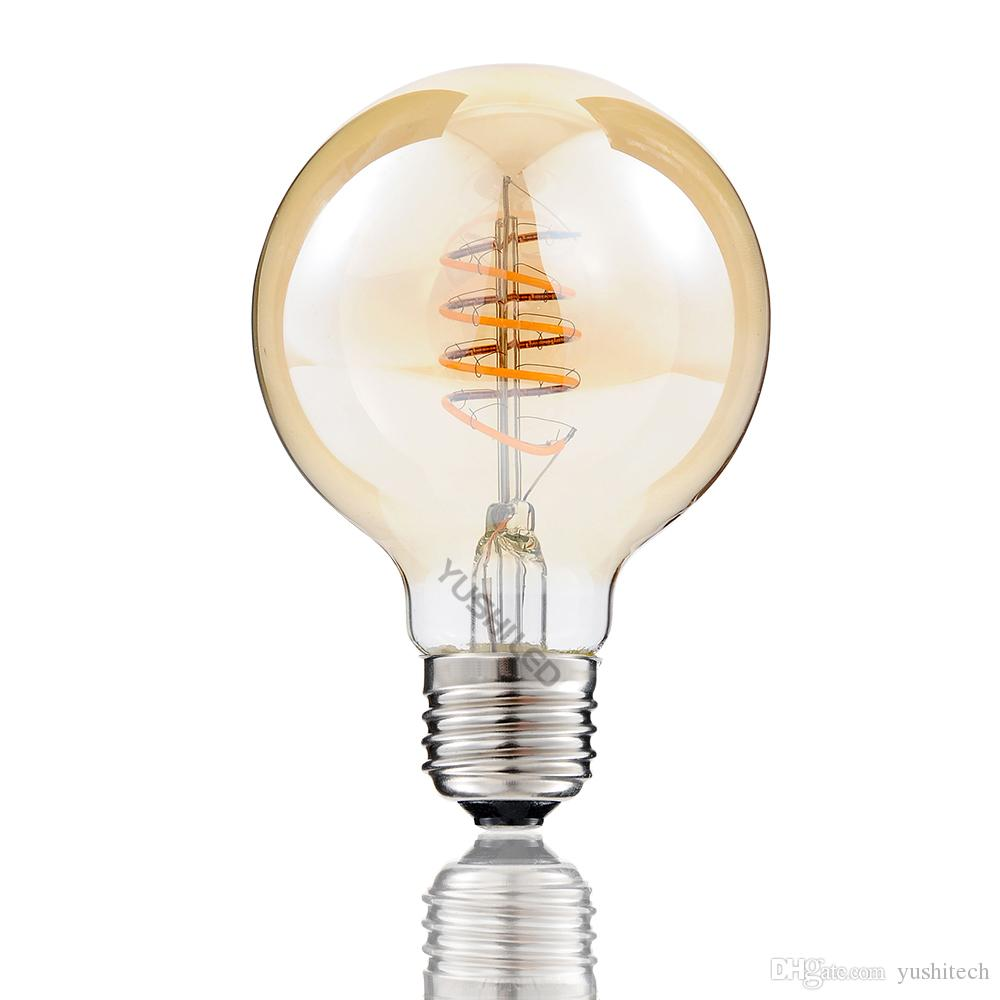 Vintage G80/G25 Edison LED Bulb E26 4W 110V Dimmable 2200K Warm Yellow Spiral Curled Filament LED Bulb Retro Decorate Shop Bar Home Hotel