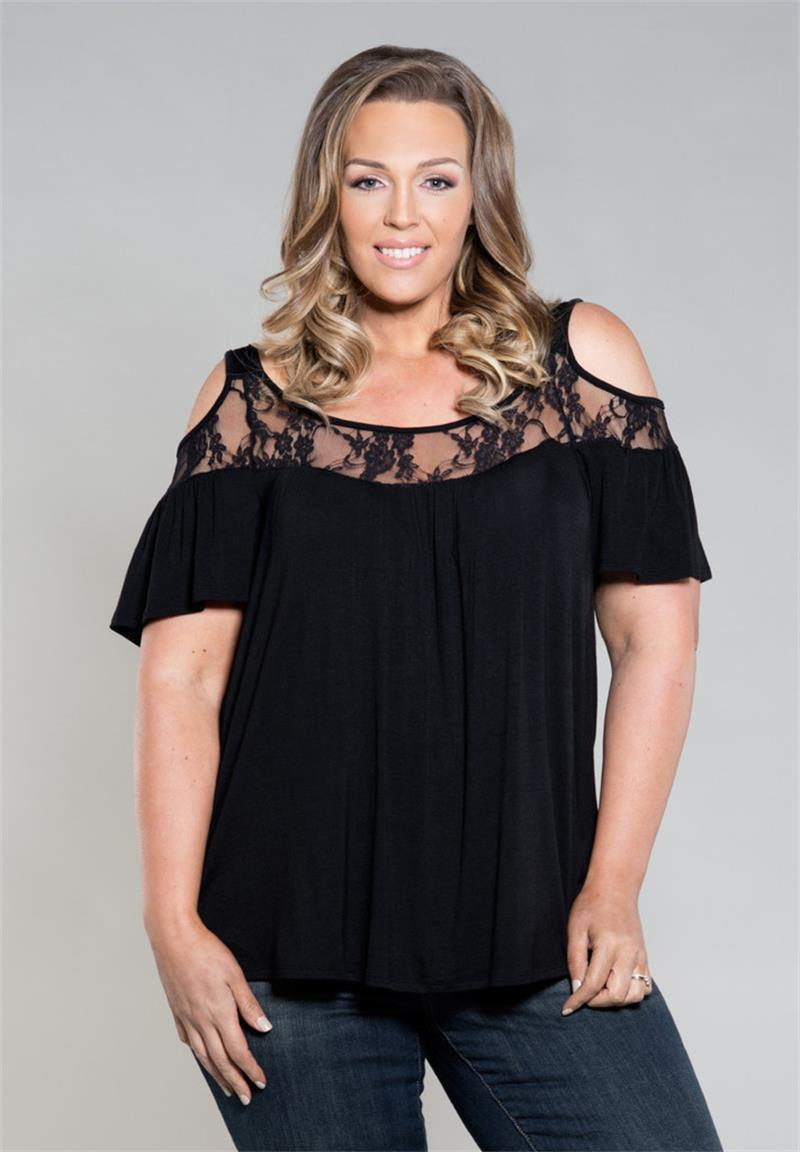 461d0d7cff 5XL 6XL 2017 Plus Size Women Clothing V Neck Summer Girl Tshirt Casual Sexy  Loose Leakage Shoulder Large Big Size Lace Tops Coolest Shirts Funny T Shirt  ...