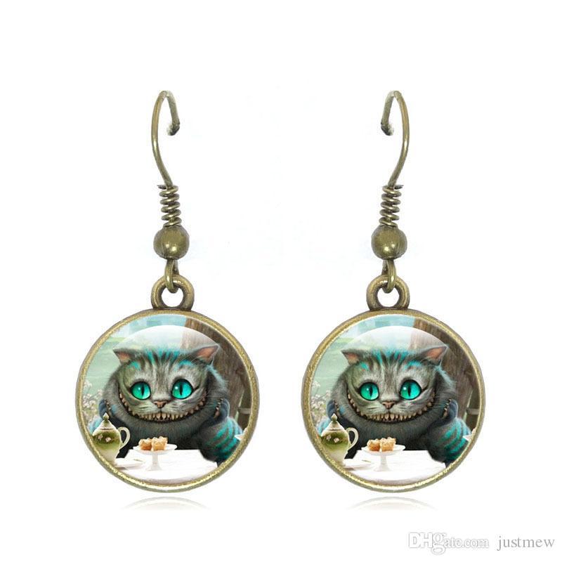Hot!Unique Vintage Bronze Jewelry Set Cheshire Cat art Glass Dome Pendant Necklace Stud Earrings Bracelets Set For Women Jewelry