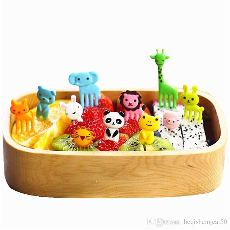 10 pcs/set Animal Fruits Fork Plastic Animal Farm Mini Cartoon Fruit Fork Sign Fruit Toothpick Bento Lunch For Children