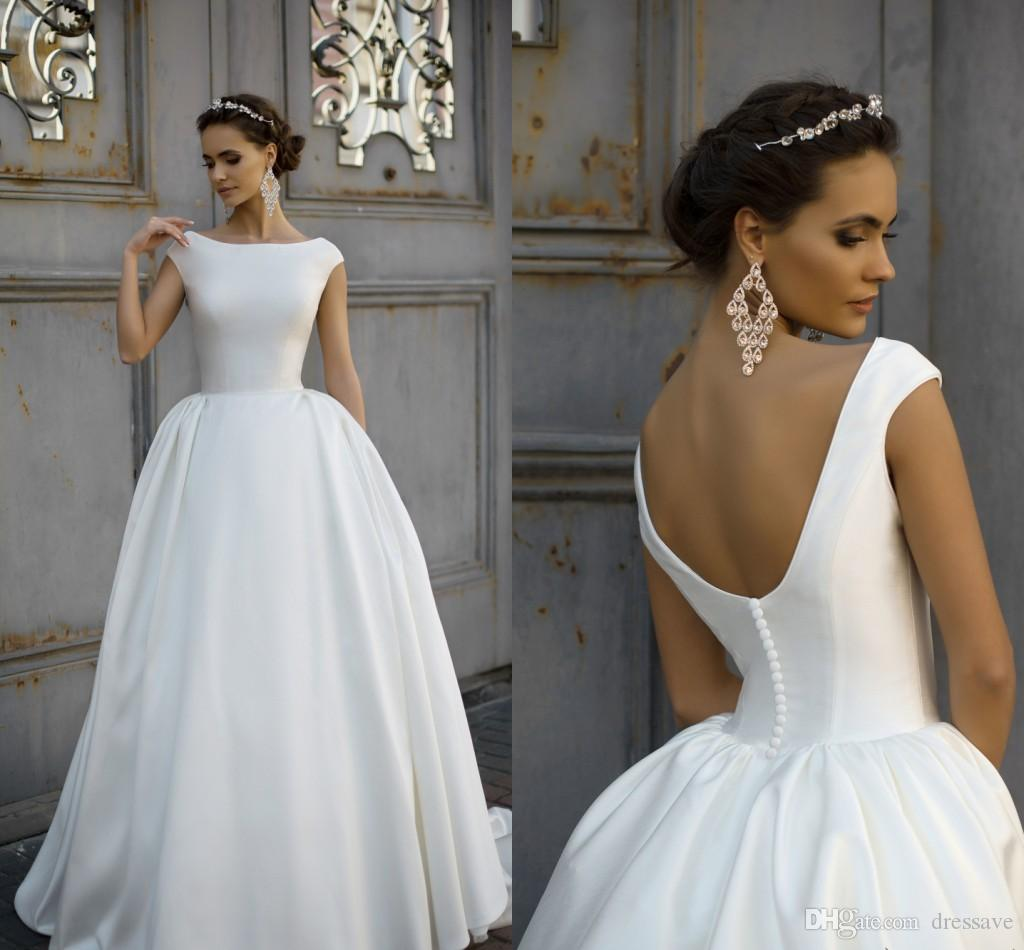 Jieruize White Simple Backless Wedding Dresses 2019 Ball: Discount 2018 Simple Style Milla Nova Wedding Dresses