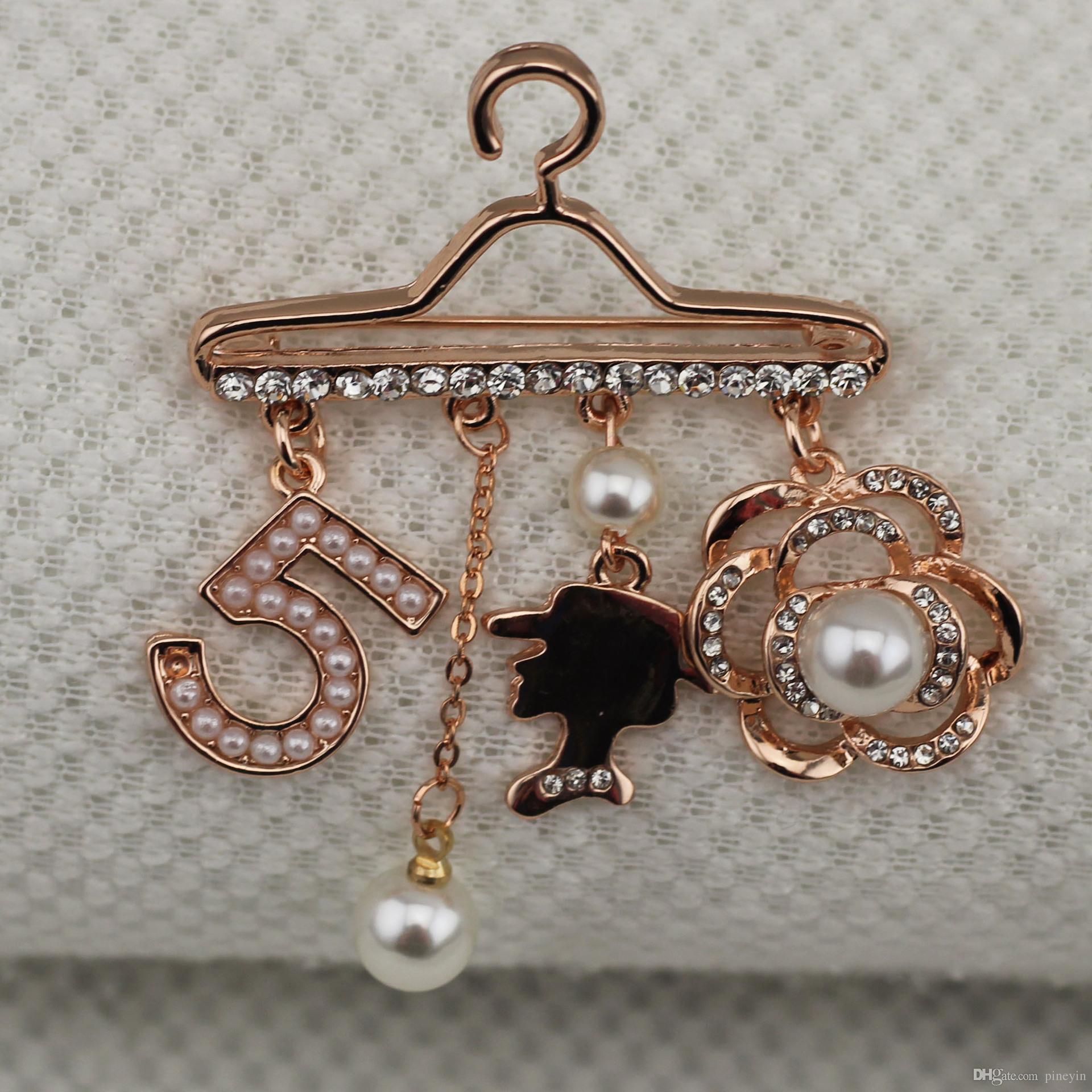 Номер 5 королева портрет жемчужный вешалка Брош булавка, горный хрусталь брошь брош розовые золотые броши для женщин ne740